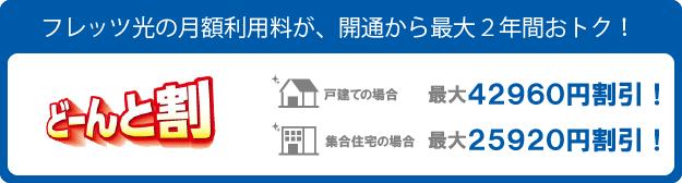 フレッツ光の割引・キャンペーン「どーんと割」です。フレッツ光をお申込みのお客様は、月額利用料が2年間割引されます。戸建ても集合住宅も適用されます。